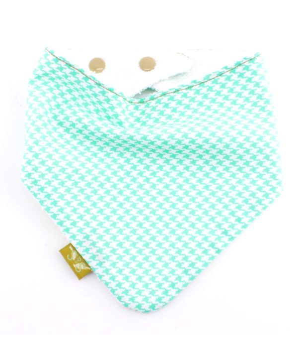 Mini-Mint-Houndstooth-Dribble-bandana-dribble-bib-adjustable-terry-cotton-designer
